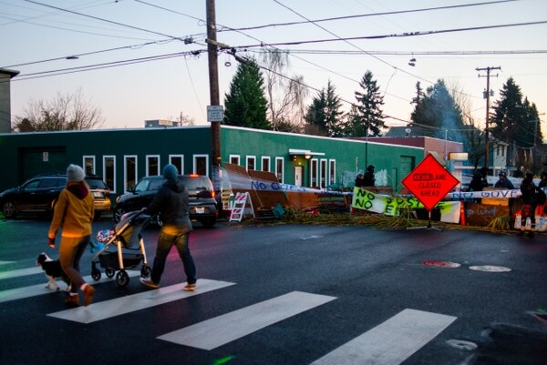 For five nights, Portland's attention was fixed on this intersection. (Mick Hangland-Skill)