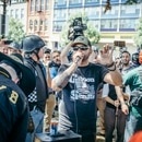 Joey Gibson speaks at a Portland protest on Aug. 4, 2018. (Sam Gehrke)