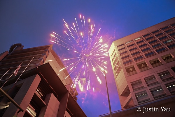 Fireworks above the Multnomah County Justice Center on the one-year anniversary of George Floyd's murder. May 25, 2021. (Justin Yau)