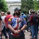 A Patriot Prayer protester on June 3, 2017. (Aubrey Gigandet)