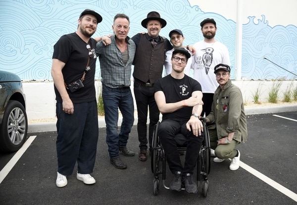 Bruce Springsteen (second from left) with Portugal the Man. IMAGE: Kevin Mazur.