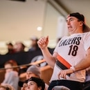 Blazers fan reacts to a playoff game on April 23, 2019. (Sam Gehrke)