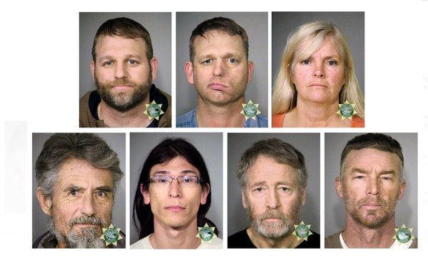 Clockwise from top left, Ammon Bundy, Ryan Bundy, Shawna Cox, Jeff Banta, Kenneth Medenbach, David Lee Fry and Neil Wampler. (Multnomah County Sheriff)