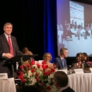 U.S. Sen. Jeff Merkley speaks at The Skanner's Martin Luther King Jr. Breakfast. (Motoya Nakamura / Multnomah County)