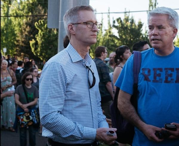 Mayor Ted Wheeler at the May 27 vigil. (Emily Joan Greene)
