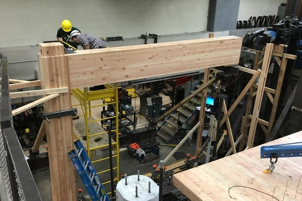 Mass timber beam-to-column seismic testing at Portland State University. (Lever Architecture)