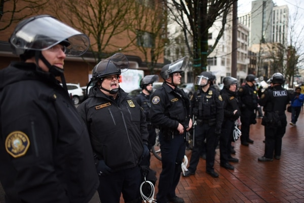Portland Police Bureau officers on Jan. 20, 2017. (Joe Riedl)
