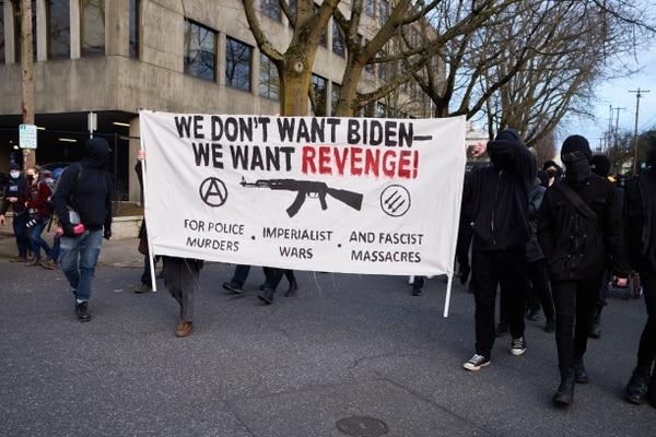 A leftist march through Portland on Jan. 20, 2021. (Chris Nesseth)