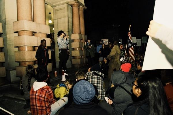 """Healing rally"" at Portland City Hall on Nov. 11, 2016. (Emily Joan Greene)"