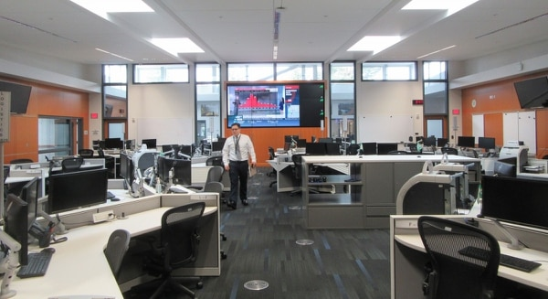 Portland Bureau of Emergency Management spokesman Dan Douthit shows off the city's quake-proof command center, complete with a secure supply closet for classified briefings.