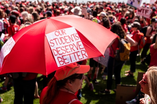 Portland teacher walkout on May 8, 2019. (Wesley Lapointe)