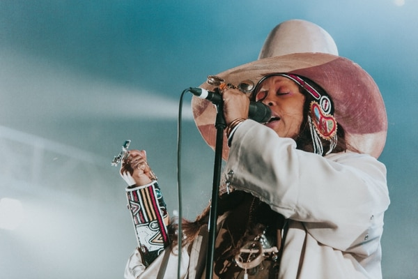 Erykah Badu performing at the Schnitz as part of the 2018 Soul'd Out Music Festival. IMAGE: Abby Gordon.