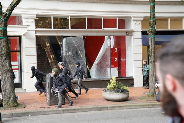 Smashed Target window at May Day protest (William Gagan)