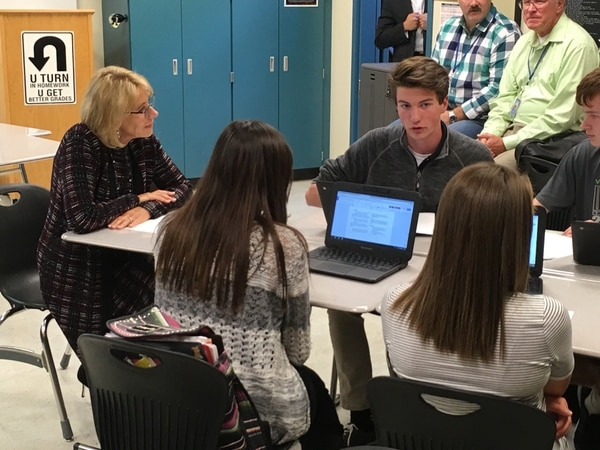 U.S. Secretary of Education Betsy DeVos (left) visits McMinnville High School (Anna Williams)
