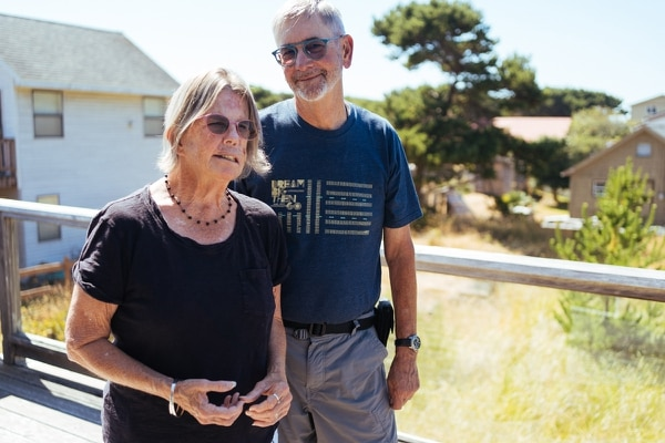 Lyannae and Ed Ruttlegde pose for a photo on their patio in Tierra del Mar on August 15, 2020. (Alex Wittwer)