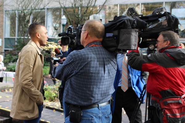 Activist Gregory McKelvey speaking to the press on the PSU campus in October of 2016. (Ellena Rosenthal)
