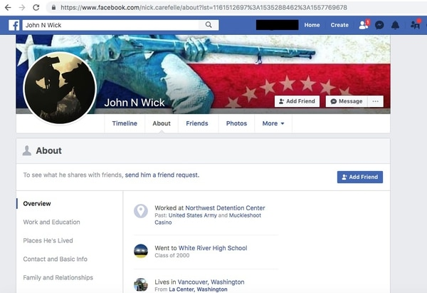 Screenshot of Nicholas Carefelle's Facebook page.