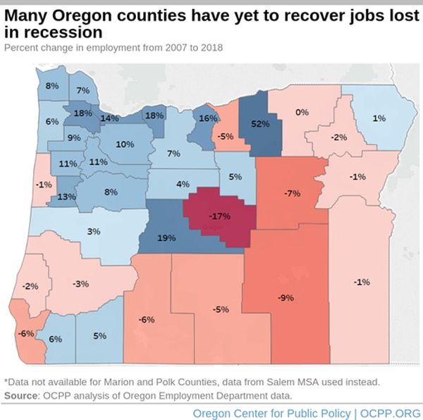 A map showing the percent change in employment from 2007 to 2018 in Oregon's counties. (Courtesy of Oregon Center for Public Policy)
