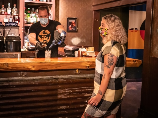 Landmark Saloon reopened with masks required. (Brian Burk)