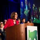 Oregon Gov. Kate Brown celebrates her reelection on Nov. 6, 2018. (Justin Katigbak)