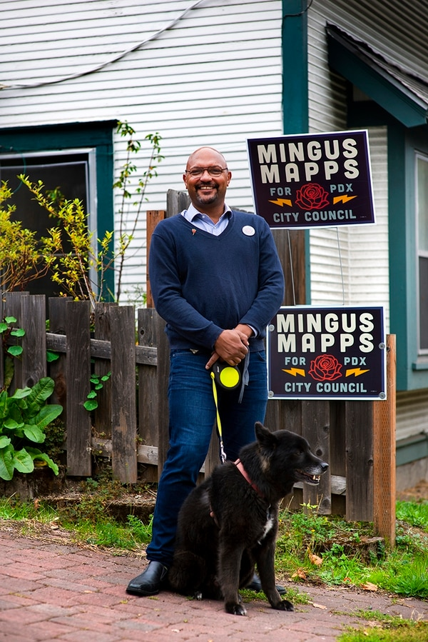 LOW PROFILE: Mingus Mapps has spent more time with Rasu, his 11-year-old mutt, than at nightly protests.