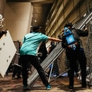 Protesters grab fences outside the Mark O. Hatfield federal courthouse on July 18. (Alex Wittwer)