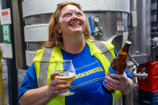 Sandi Harding, Blockbuster Store Manager, at the 10 Barrel Brewing x Blockbuster Brew Day. (Reilly Goldberg)