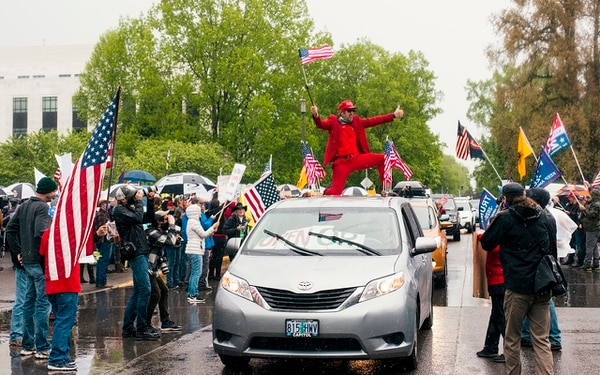 NO DIRECTION HOME: Oregon conservatives protested Gov. Kate Brown's stay-home orders at the Capitol last May. (Aaron Wessling)