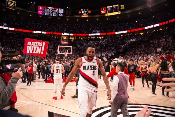 Maurice Harkless celebrates. (Justin Tucker / Trail Blazers)