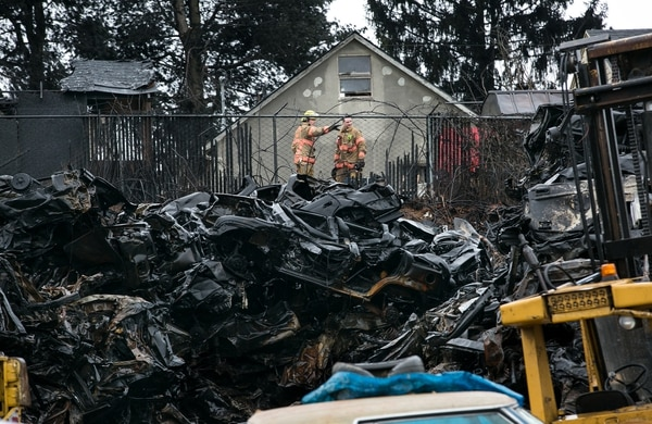The NW Metals auto scrapyard on March 13. (Motoya Nakamura / Multnomah County)