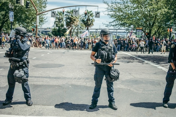 Police line along Southwest Naito Parkway on Aug. 4. (Sam Gehrke)