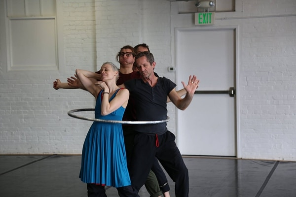 Dancers Alicia Cutaia, Scott Stampone, Daniel Kirk, and Eric Skinner in rehearsal with composer Daniel Schlosberg