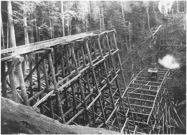 Workers finished building the Pacific Railway & Navigation line in 1911. One of the final projects was the Big Baldwin trestle—520 feet long and 167 feet high. (Courtesy of Tillamook County Pioneer Museum Collection)