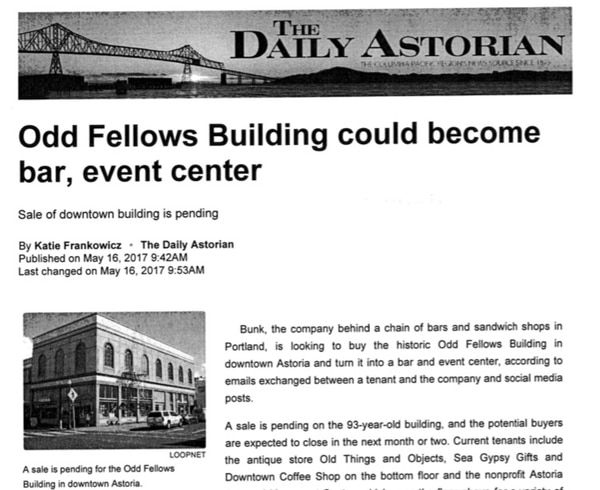 The original story from The Daily Astorian, which reported that Bunk would be buying the downtown building.