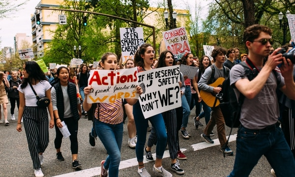 A gun control protest in downtown Portland in April 2018. (Christine Dong)