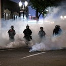 Portland police have used a range of crowd control devices. (Wesley Lapointe)