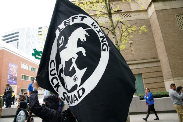 Protesters in black block-style garb on May 1, 2017. (William Gagan)