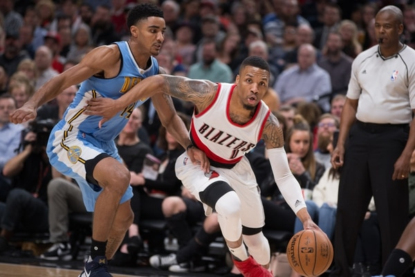 Trail Blazers face the Denver Nuggets on March 28, 2017. Bruce Ely / Trail Blazers