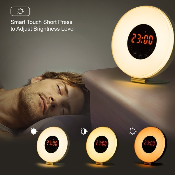 Sunrise, alarm clock, reading lamp and radio, all in one. (Amazon)