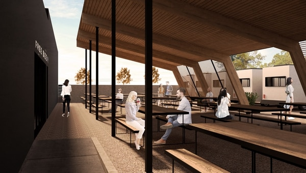 A rendering of Oregon City Brewing's upcoming beer garden.Image courtesy of Oregon City Brewing.
