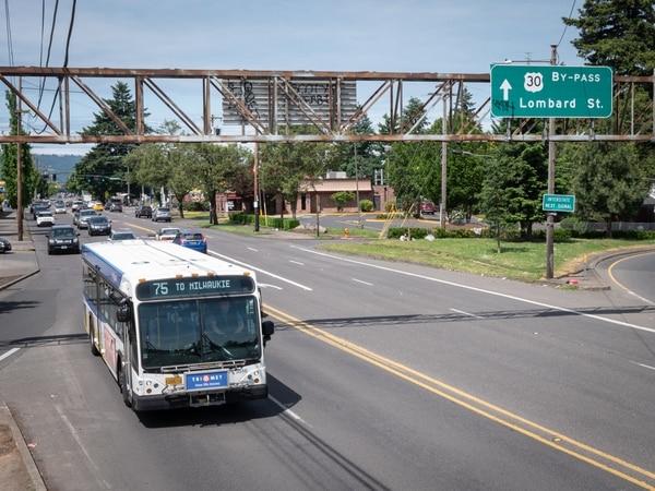 A TriMet bus on North Lombard Street. (Brian Burk)