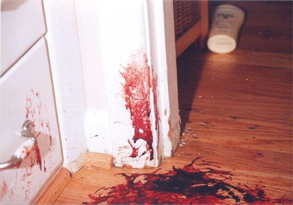 THE CRIME SCENE: Blood pooled in the hallway outside the bedroom where a hit man attacked Susan Kuhnhausen on Sept. 6, 2006.