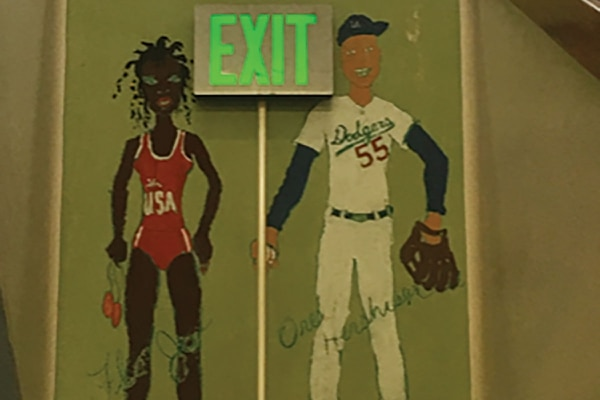 Murals at Glencoe Elementary portray Jackie Joyner-Kersee and Orel Hershiser. (courtesy of Kelley Sigler)