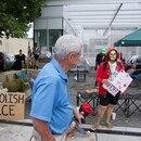 Stuart Linquist tours the occupation of Portland's ICE headquarters, a building he owns. (Jason Wilson)