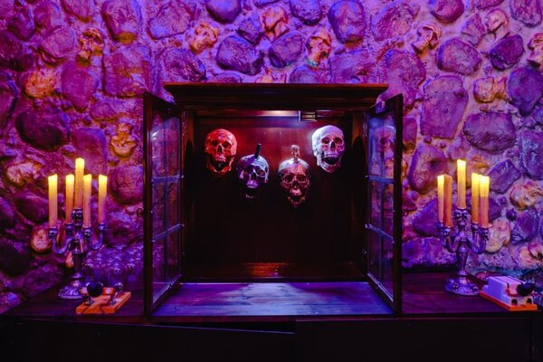 These skulls will dispense beer, cocktails and mocktails when Raven's Manor opens. Photo courtesy of Raven's Manor.