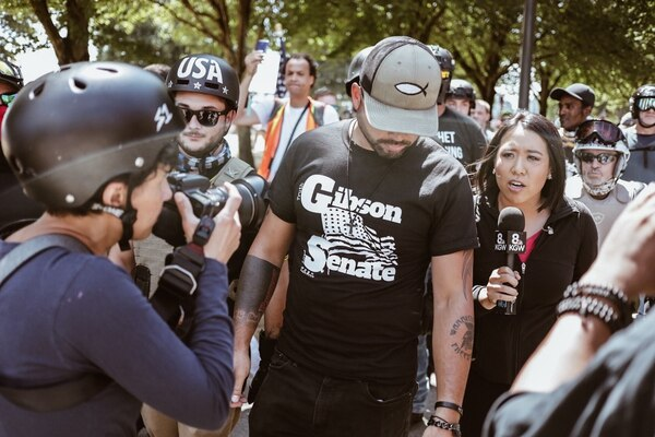 Joey Gibson is interviewed by KGW-TV on Aug. 4, 2018. (San Gehrke)