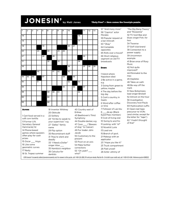 Were Very Sorry About The Crossword Puzzle This Week Print This