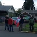 A video still shows the gathering on Springfield neo-Nazi Jimmy Marr's lawn on April 24, 2017. (Rachel Glenzer via Facebook)