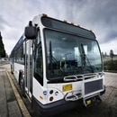 TriMet bus at Gateway Transit Center. (Reid Kille)