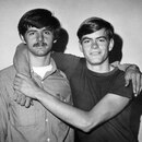 Portland Gay Liberation Front founder John Wilkinson (left) with future husband Dave Davenport at the second meeting of the PGLF in March 1970.